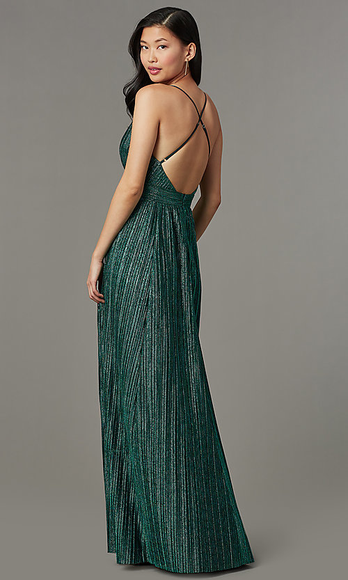 Image of backless long green glitter-knit formal prom dress. Style: LUX-LD5676 Back Image