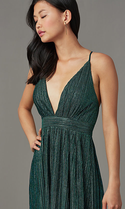 Image of backless long green glitter-knit formal prom dress. Style: LUX-LD5676 Detail Image 1