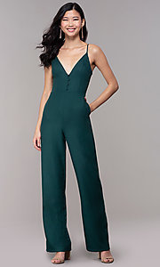 Image of hunter green wedding-guest jumpsuit with pockets. Style: BLU-18IBR1769 Front Image