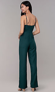 Image of hunter green wedding-guest jumpsuit with pockets. Style: BLU-18IBR1769 Back Image