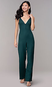 Image of hunter green wedding-guest jumpsuit with pockets. Style: BLU-18IBR1769 Detail Image 3