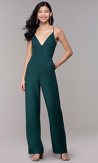 Hunter Green Wedding-Guest Jumpsuit with Pockets