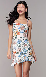Image of short graduation sheath print dress in cream. Style: BLU-BD8830-6 Front Image