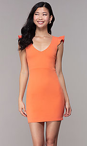 Image of short orange party dress with string-tie corset. Style: BLU-BD89641-1 Front Image