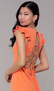 Image of short orange party dress with string-tie corset. Style: BLU-BD89641-1 Detail Image 2