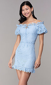 Image of short off-shoulder graduation party lace dress. Style: BLU-IBD9870 Front Image