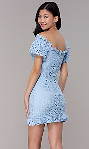 Image of short off-shoulder graduation party lace dress. Style: BLU-IBD9870 Back Image