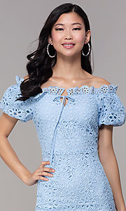 Image of short off-shoulder graduation party lace dress. Style: BLU-IBD9870 Detail Image 1