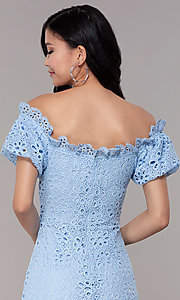 Image of short off-shoulder graduation party lace dress. Style: BLU-IBD9870 Detail Image 2