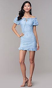 Image of short off-shoulder graduation party lace dress. Style: BLU-IBD9870 Detail Image 3