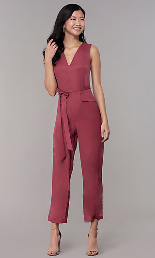 Wedding-Guest V-Neck Jumpsuit with Cropped Legs
