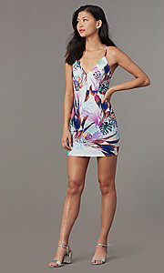 Image of v-neck short print party dress. Style: BLU-BD90049 Front Image