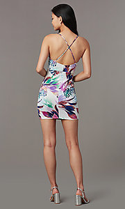 Image of v-neck short print party dress. Style: BLU-BD90049 Back Image