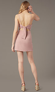 Image of short square-neck dusty rose wedding-guest dress. Style: BLU-BD95185 Back Image