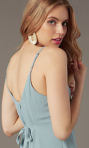 Image of short casual button-front party dress in seafoam. Style: BLU-IBD9858 Detail Image 2