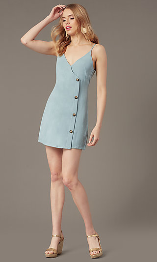 Short Casual Button-Front Party Dress in Seafoam
