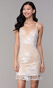 Image of short embroidered-mesh graduation dress in white. Style: BLU-IBD95160 Front Image