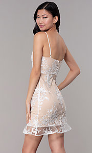 Image of short embroidered-mesh graduation dress in white. Style: BLU-IBD95160 Back Image