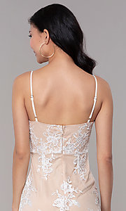 Image of short embroidered-mesh graduation dress in white. Style: BLU-IBD95160 Detail Image 2