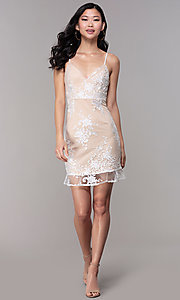 Image of short embroidered-mesh graduation dress in white. Style: BLU-IBD95160 Detail Image 3