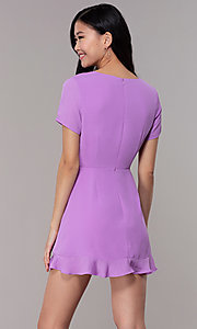 Image of short faux-wrap wedding-guest party dress. Style: BLU-IBD9528-1 Back Image