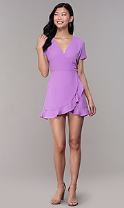Image of short faux-wrap wedding-guest party dress. Style: BLU-IBD9528-1 Detail Image 3