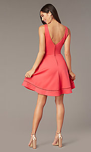 Image of short wedding-guest party dress in watermelon pink. Style: CT-7426YK8B Back Image