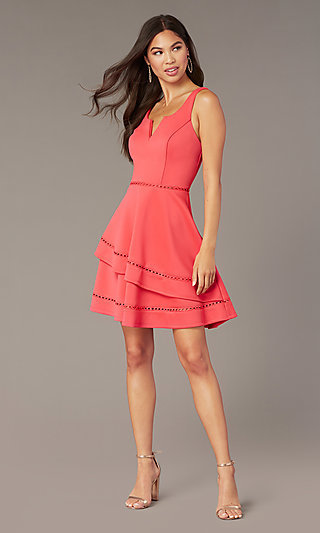 Short Wedding-Guest Party Dress in Watermelon Pink