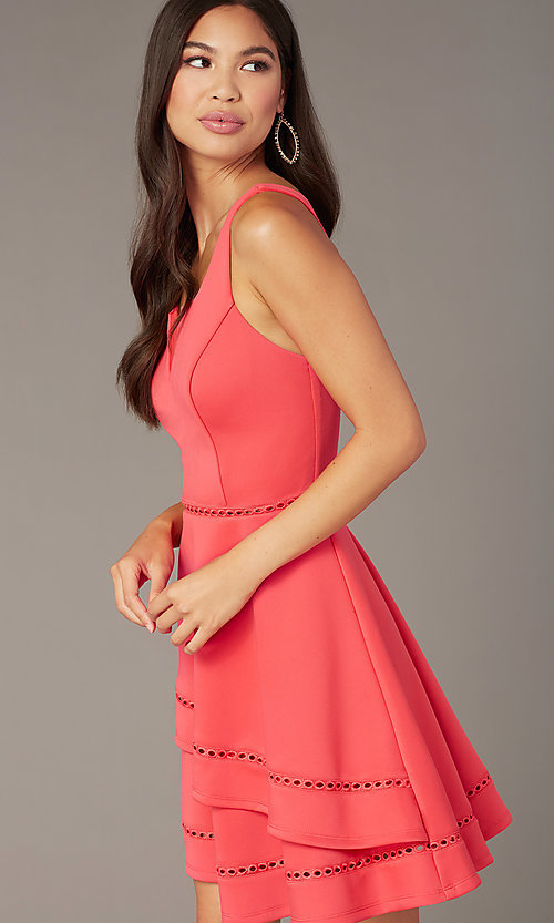 Image of short wedding-guest party dress in watermelon pink. Style: CT-7426YK8B Detail Image 1