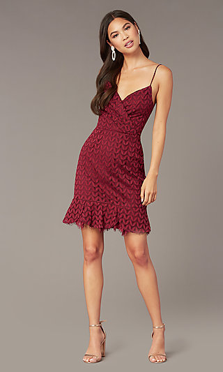 Wine Red V-Neck Short Lace Wedding-Guest Dress