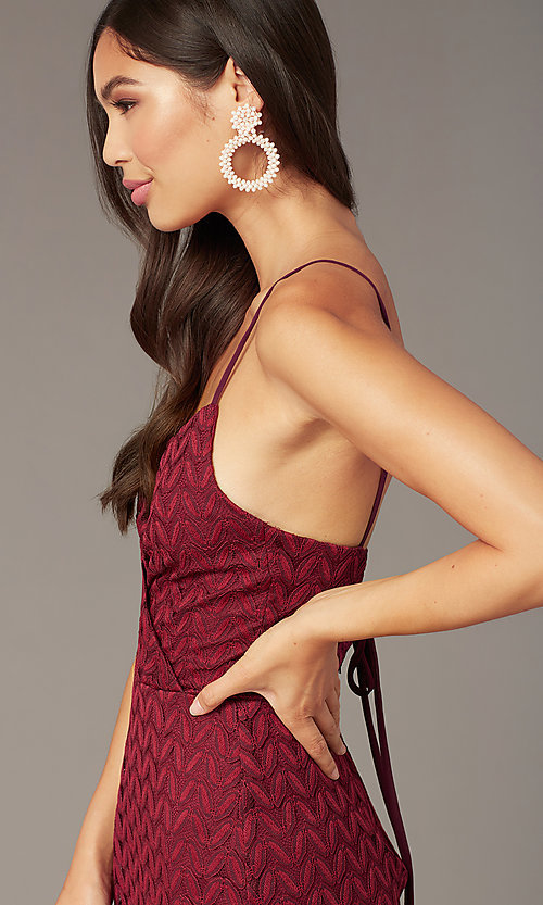 Image of wine red v-neck short lace wedding-guest dress. Style: CT-6030AN9B Detail Image 1