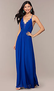 Image of royal blue prom dress with lace-trimmed v-neckline. Style: AC-DS24481W Detail Image 3