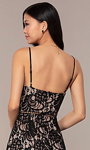 Image of lace v-neck little black short formal dress. Style: AC-DS24724W Detail Image 2