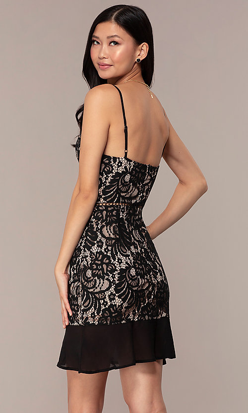 Image of lace v-neck little black short formal dress. Style: AC-DS24724W Back Image