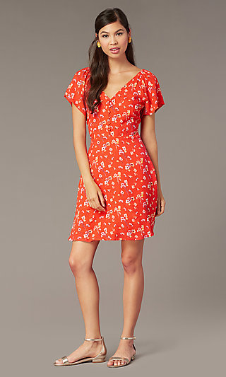 V-Neck Short Print Casual Dress with Short Sleeves