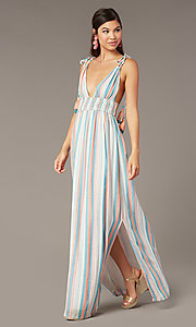 Image of long maxi wedding-guest dress with tied shoulders. Style: AC-ED16340VY01 Front Image