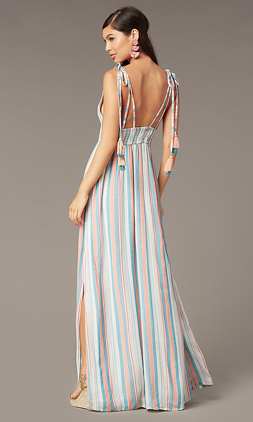 Image of long maxi wedding-guest dress with tied shoulders. Style: AC-ED16340VY01 Back Image