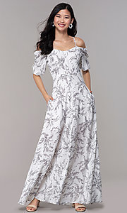 Image of maxi off-the-shoulder print graduation party dress. Style: FAN-AKD0006 Front Image