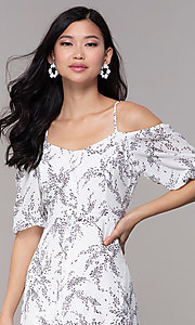 Image of maxi off-the-shoulder print graduation party dress. Style: FAN-AKD0006 Detail Image 1