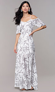 Image of maxi off-the-shoulder print graduation party dress. Style: FAN-AKD0006 Detail Image 3