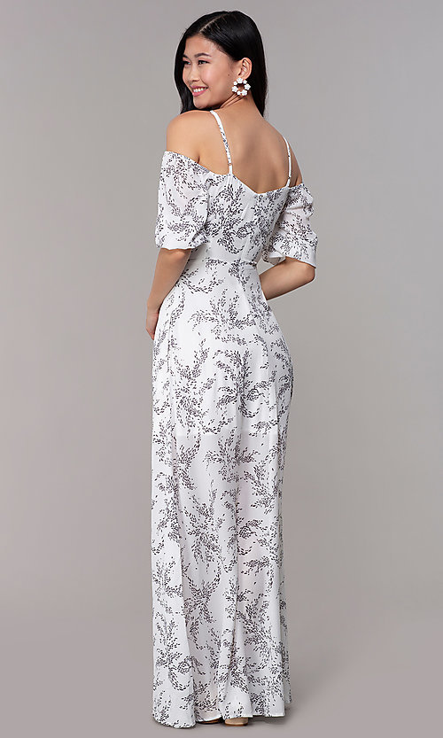 Image of maxi off-the-shoulder print graduation party dress. Style: FAN-AKD0006 Back Image
