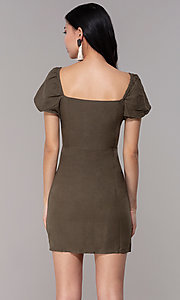 Image of button-front bell-sleeve short party dress in olive. Style: FAN-EKD2012 Back Image