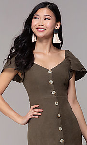Image of button-front bell-sleeve short party dress in olive. Style: FAN-EKD2012 Detail Image 1