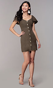 Image of button-front bell-sleeve short party dress in olive. Style: FAN-EKD2012 Detail Image 3
