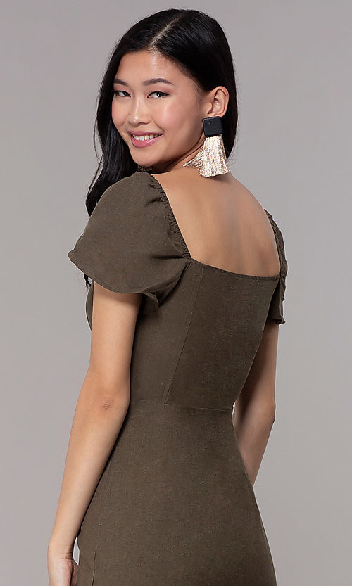Image of button-front bell-sleeve short party dress in olive. Style: FAN-EKD2012 Detail Image 2
