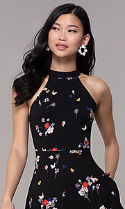 Image of short high-neck floral-print black party dress. Style: FAN-EKD2020 Detail Image 1