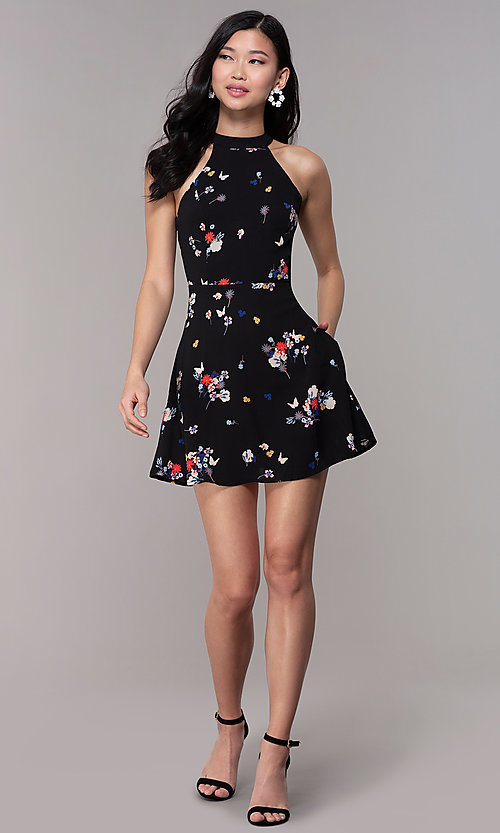 Image of short high-neck floral-print black party dress. Style: FAN-EKD2020 Detail Image 3
