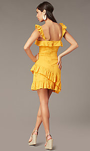 Image of short yellow eyelet-lace party dress with ruffles. Style: FAN-AKD0094Y Back Image