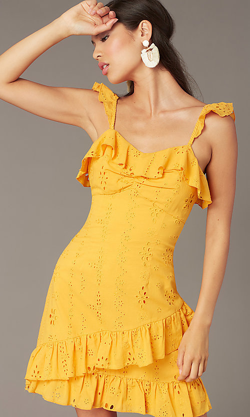 Image of short yellow eyelet-lace party dress with ruffles. Style: FAN-AKD0094Y Detail Image 1