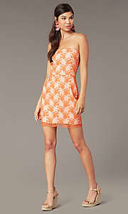 Image of orange short embroidered strapless party dress Style: FAN-AKD20113 Front Image